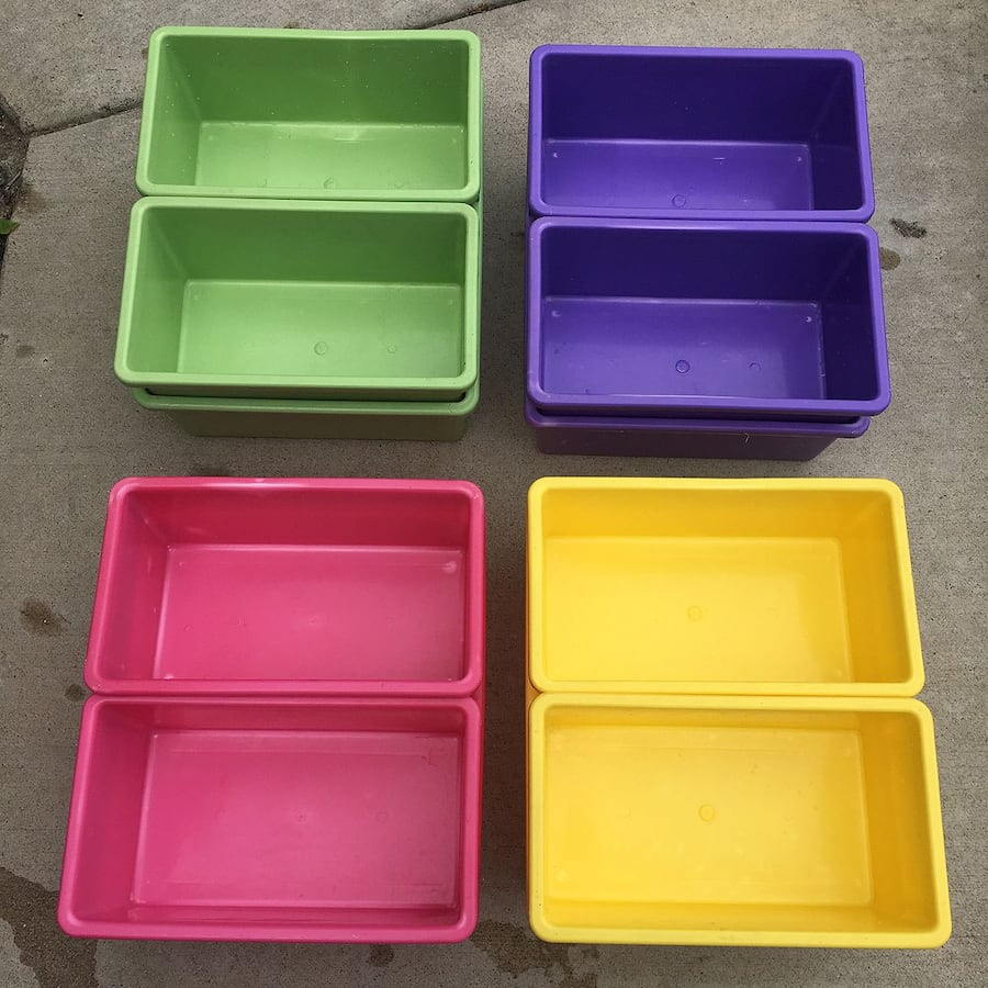 12 Stackable Multi-color Plastic Bins for $5 a7e524a3-eed0-4b58-934e-d3a1e0f64212