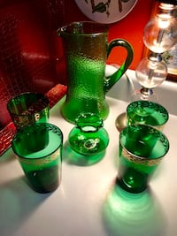 Vintage Forest Green Glass Ware 6 pieces Kansas City, 64118