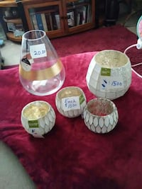 five glass containers all new item's.