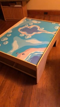 blue and white wooden table 283 mi