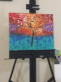 brown,orange,and blue tree painting