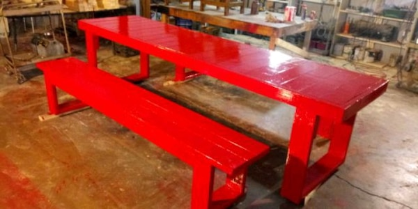 Used Rustic Table Set 10 Ft Table 8 Ft Benches For Sale In Irving