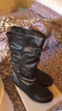 Black leather knee high boots Westminster, 21157