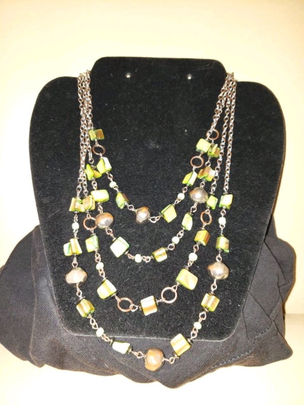 Green hand beaded necklace