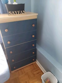 Kids twin bed and 5 drawer chest