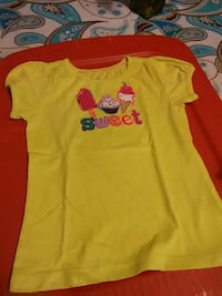 yellow, pink, and blue crew-neck cap-sleeve shirt