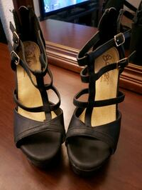 pair of black leather open-toe heeled sandals Brownsville, 78521