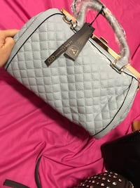 quilted white and black leather tote bag New York, 11218