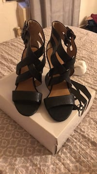 pair of black open toe ankle strap heels New York, 11206