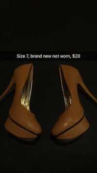 pair of brown leather pointed-toe pumps Toronto, M6J