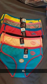 five size-XL assorted color panties