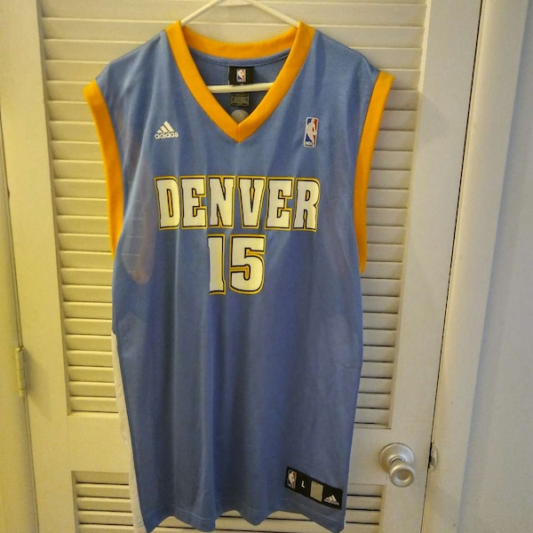 online store ffdc5 4342a blue and yellow Denver Nuggets 15 Carmelo Anthony basketball jersey