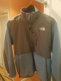 gray and light blue zip-up jacket
