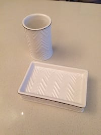 Chevron White Ceramic Bathroom Set 39 km