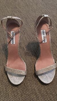 nude-colored-and-silver-colored Steve Madden open toe ankle strap heeled sandals