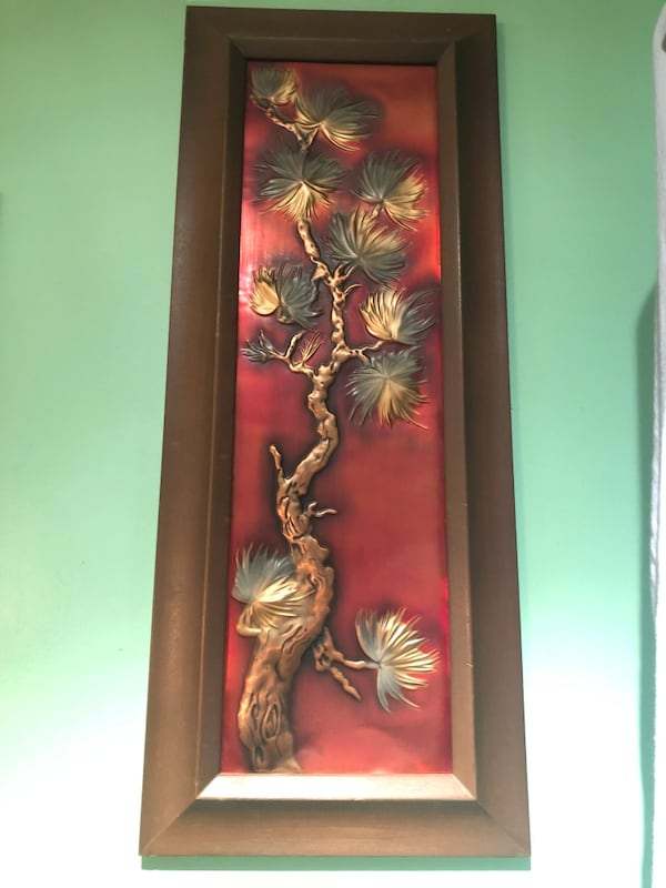 MOVING SALE - leaving November - Vintage wall decor - metal with wood frame. $20 for set 6b6dec66-4fe7-44b6-89b6-03aa2c2a76e1
