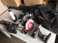 Craftsman battery operated toolset drill, circular saw, flashlight, saws all, two batteries, charger, and bag Carrollton, 75007