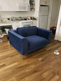 Large Blue Velvet Deep Seat Couch (Chair ± 1/2)