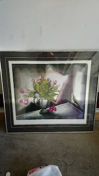 painting of pink Tulip flowers in vase in black frame Calgary, T1Y