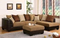 brown fabric sectional sofa with ottoman Manassas, 20111