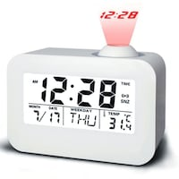 Talking Projection Clock, LCD Electronic Desk Table Alarm Time Projection Watch