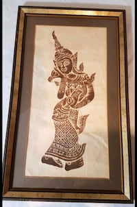 authentic Thai woodblock print dancing woman Whitby