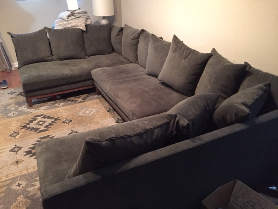 used gray fabric sectional sofa with throw pillows for sale in rh gb letgo com
