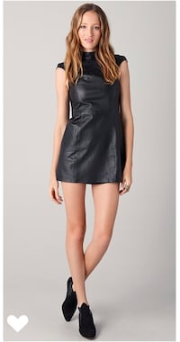 Shakuhachi Black 100% Real Leather Cap Sleeve Dress Size 4 (fits more like a 2) XS 3158 km