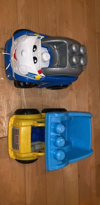 toddler's blue and yellow ride on toy car