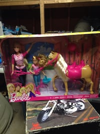 Barbie dolls with brown horse set