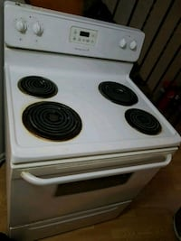 white and black 4-burner electric coil range oven Toronto, M9V 4T2