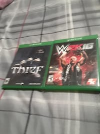 two Thief and W2K16 Xbox One game cases