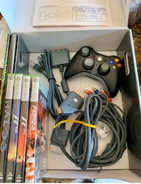 Xbox 360 elite 120gb + games  -Needs new adapter AD-20312L. San Jose, 95125