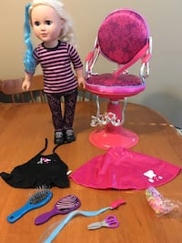 "18"" doll hairdresser with salon chair fits American girl dolls  Niagara Falls, L2H 1X3"