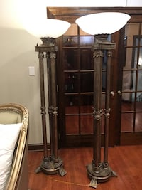 6 foot 5 inch metal stand with foggy glass lamps Fairfax Station, 22039