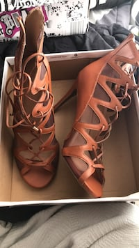 pair of brown leather gladiator sandals Columbia, 21045