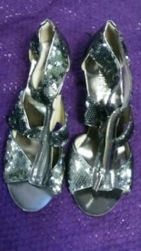 pair of silver-colored open-toe heels Lakewood, 80227