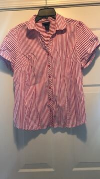 Pink and white striped button up shirt  56 mi
