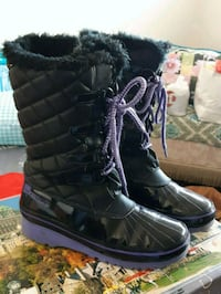 quilted black leather wedge wide-calf snow boots 533 km
