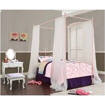 Photo Powell Canopy Wrought Iron Princess Twin Bed PINK with Mattress!