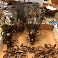Bombay Company Metal Wall Sconces 6 pieces counting the glass holders. Towson, 21286