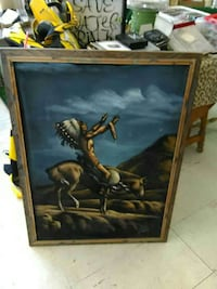 Native American Chieftain riding horse framed painting Charleston, 61920