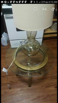 clear glass table lamp with white lampshade screenshot Boston, 02124