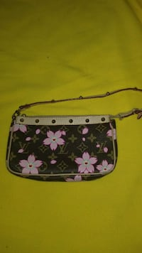 brown and white floral leather crossbody bag District Heights, 20747