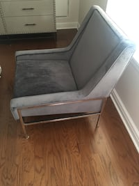 Gray velvet modern chair