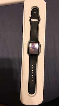 space gray aluminum case Apple Watch with black sport band Washington, 20024