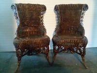 two brown wooden framed padded armchairs Newark, 43055