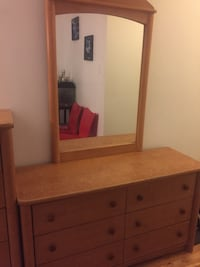 Brown wooden dresser with mirror Montreal, H1T 2A3