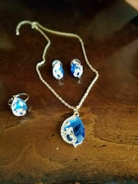 Sapphire Blue Pendant Earrings and Ring