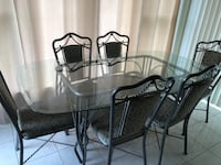 Rectangular glass top table with six chairs dining set Brampton, L6S 4Z7
